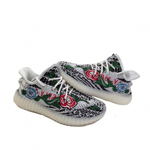 Adidas Yeezy 350 Boost white flowers фото 2