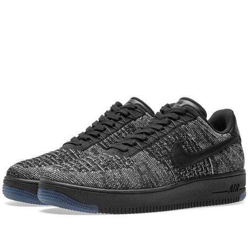 Nike Air Force 1 Flyknit Black-Grey фото 2